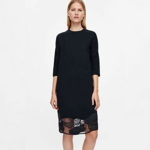 COS Dress with lace embroidered hem in Indigo